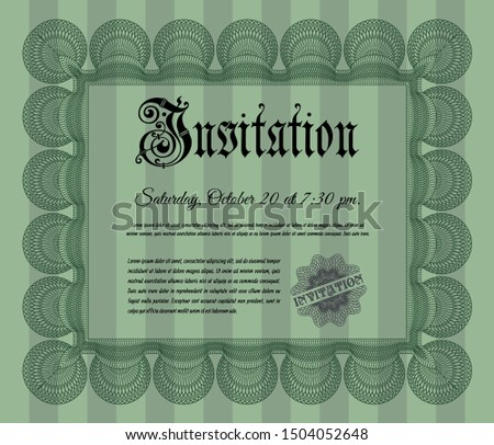 Green Invitation. With linear background. Cordial design. Customizable, Easy to edit and change colors.