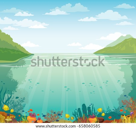 Green island, blue sea and marine wild life with school of fish. Cloudy blue sky above the underwater coral reef. Vector summer illustration.