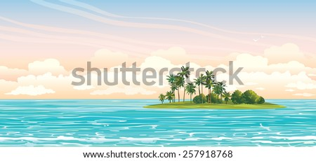 green island with coconut palms