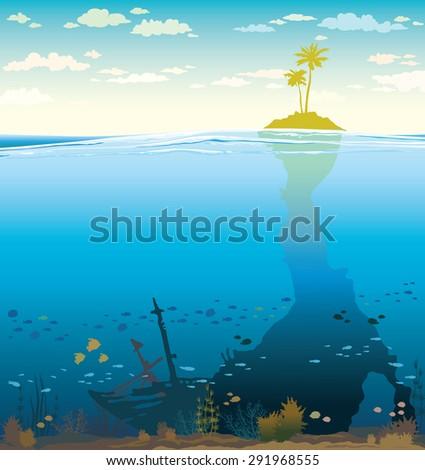 green island with coconut tree