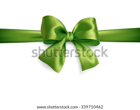 green isoated vector silky bow on on a white background