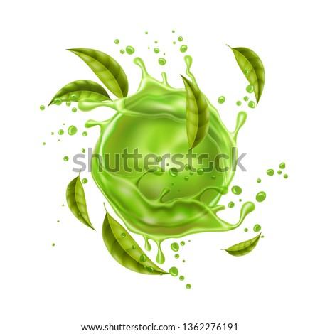 green juice splash with green