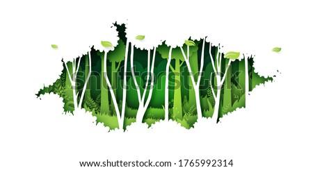 Green jungle tropical rain forest nature landscape background paper art style.Vector illustration.