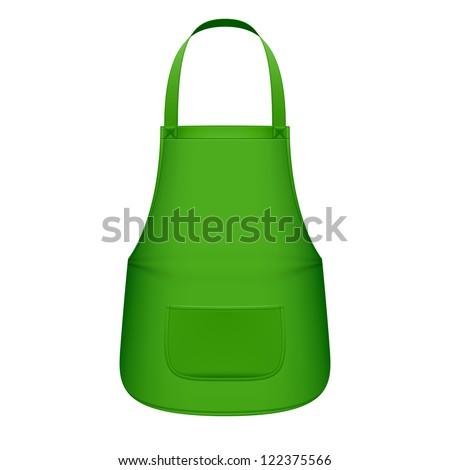 Green kitchen apron. Vector.