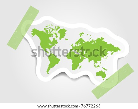 Green label with world map - stock vector