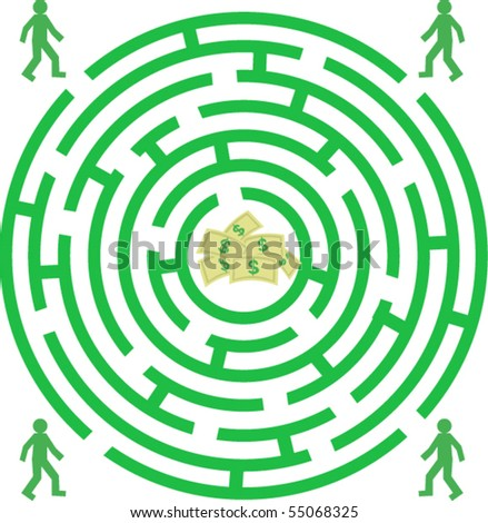 Green labyrinth with mans and money