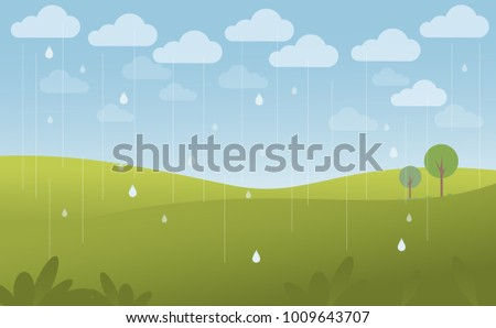 green landscape and blue sky in