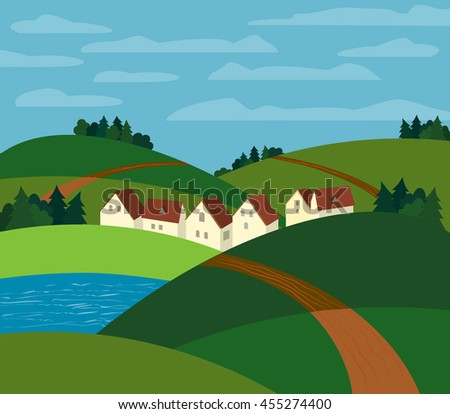 green landscape farm houses