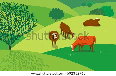 Green landscape. Freehand drawn cartoon style. Farming herd of brown cows on spring blooming meadow. Rural scene view with green trees, grass on hills and fields. Vector outdoors background