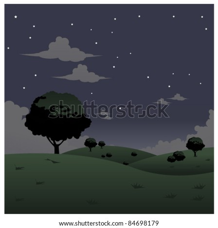 green landscape night vector