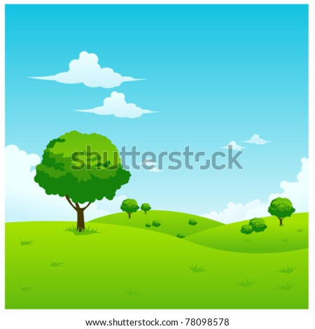 green landscape vector illustration