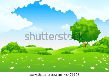 Green landscape with hills and trees. Summer landscape scene with cloudy sky. Vector Illustration.