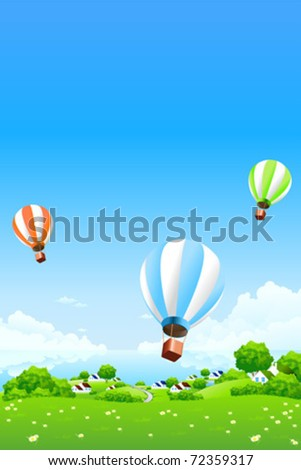 Green Landscape with Hot Air Balloons clouds water and houses