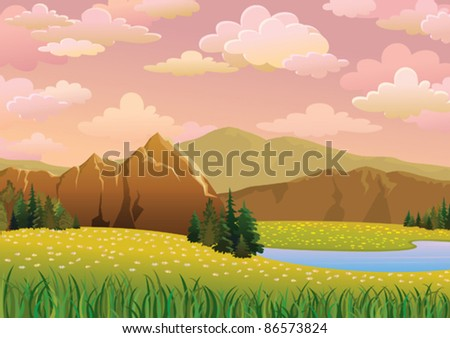 Green  landscape with meadow, lake and mountains on a pink cloudy sky