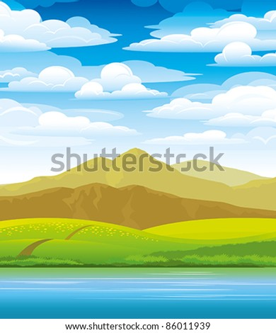 Green landscape with meadow, mountains and river on a cloudy sky background