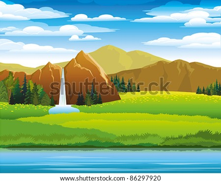 Green landscape with meadow, mountains and waterfall on a cloudy sky background