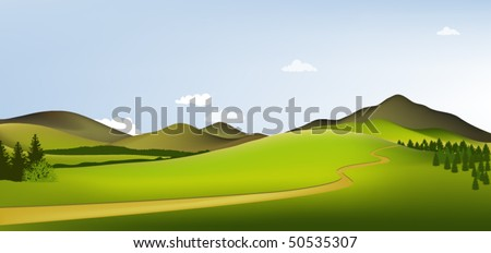 Green landscape with mountains