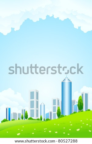 Green landscape with tree city and clouds