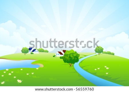 Green landscape with tree lake river house mountains clouds and rays