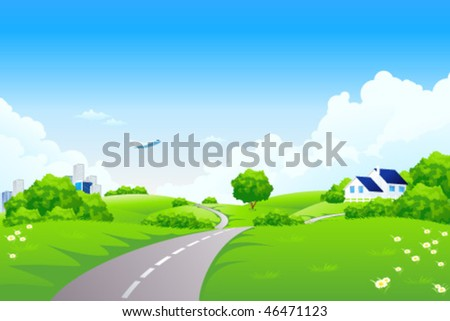 Green landscape with trees and road. Summer landscape scene with cloudy sky. Vector Illustration.