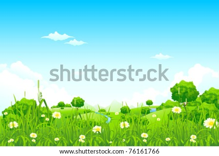 Green Landscape with trees clouds flowers and mountains