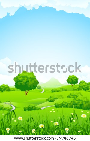 Green Landscape with trees clouds flowers and mountains #79948945
