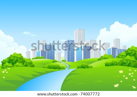Green landscape with trees river and city