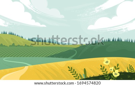 Green landscape with yellow field. Lovely rural nature. Countryside view. Vector illustration of beautiful field landscape with green hills, bright color sky, background in flat cartoon style.