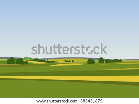 green landscape with yellow