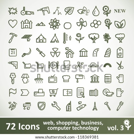 Green large Icons Set. Vector Collection. Clean Symbol for Your Design.