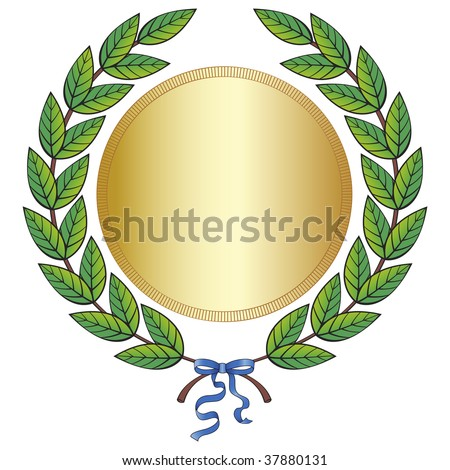 Green laurel wreath with golden medal and blue ribbon