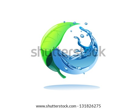 green leaf and water in circle shape