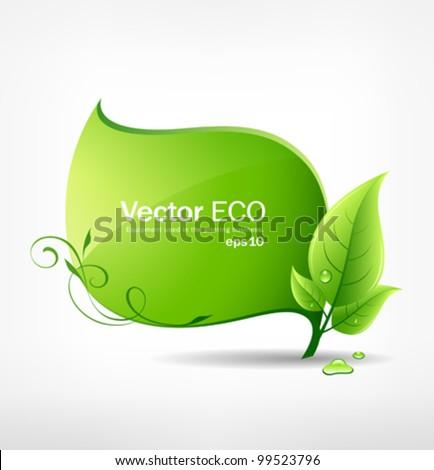 Green leaf concept ecology. vector illustration