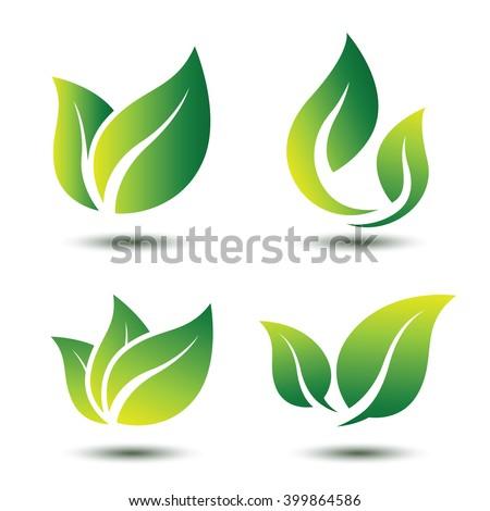 green leaf eco symbol set