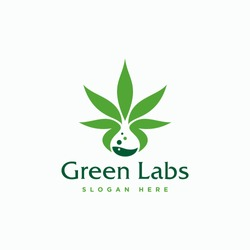Green leaf healthy labs logo design template - vector