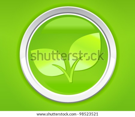 Green leaf icon on green background - stock vector
