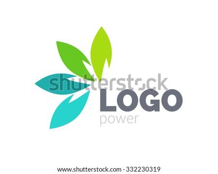Green leaf logo design. Four leaves health environmental logo. Green Leaf logo, health icon