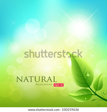 Green leaf natural background, vector illustration