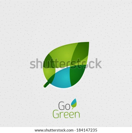 Green Leaf Nature Concept Abstract Shapes Design