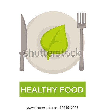 Green leaf on plate with cutlery healthy food isolated icon vector fork and knife dishware vegetarian or vegan nutrition natural products meal organic menu without GMO and fresh greenery kitchenware.