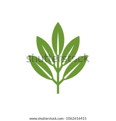 Green Leaf Ornament Nature Logo Template