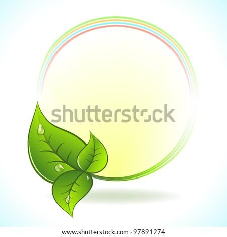 Green leaf vector label.