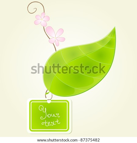 green leaf with branch and flowers on it and with label
