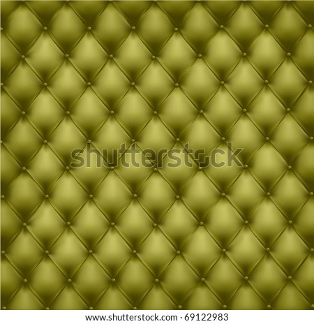 Green leather upholstery. Vector Illustration.