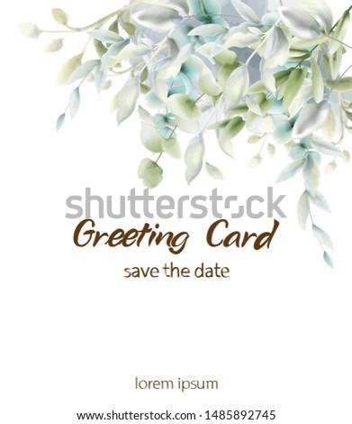 Green leaves boho card Vector watercolor. Summer round and vertical botanical greetings. Elegant botany poster