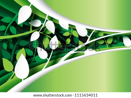 Green leaves creative paper cut layout template abstract background.Vector illustration.