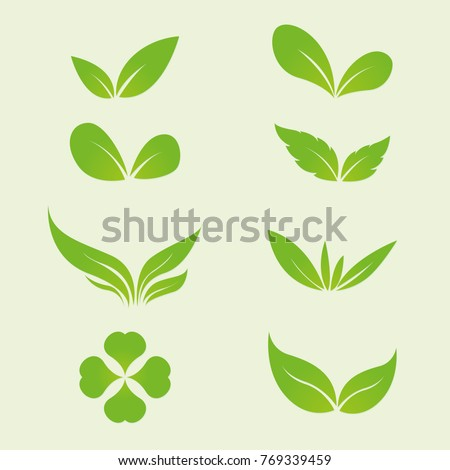 Green leaves ecology and organic logo concept, Green leaves vector icon set.