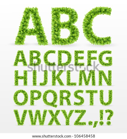 Green Leaves  font. Vector illustration.