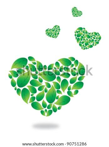 Green leaves heart, love nature - stock vector
