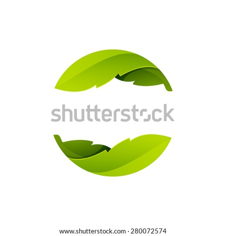 green leaves icon abstract